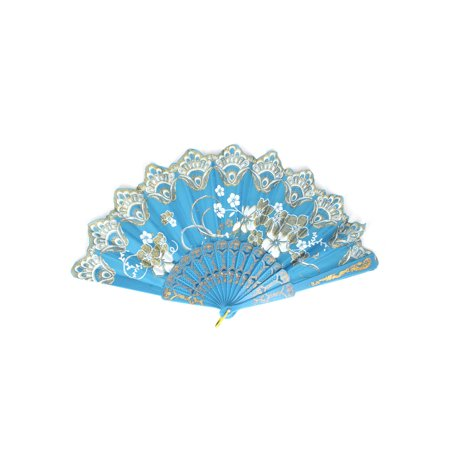 Blue Hand Fan (Unique Bargains Chinese Style Wedding Party Dancing Floral Pattern Hand Held Fan Sky)