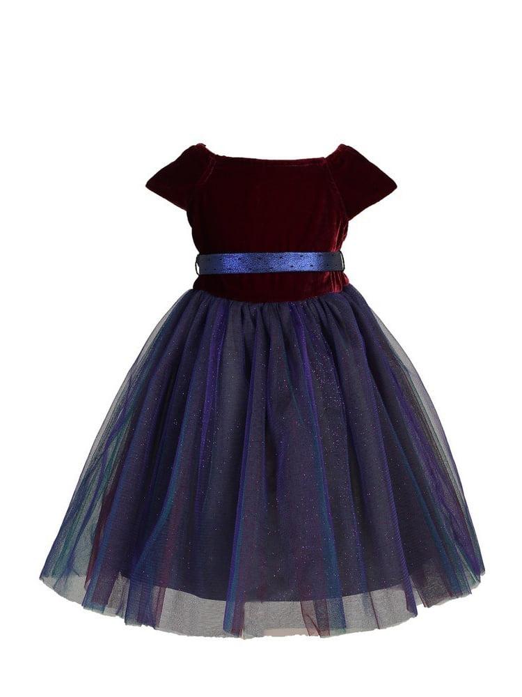 Angels Garment Baby Girls Red Velvet Top Layered Tulle Dress 12M