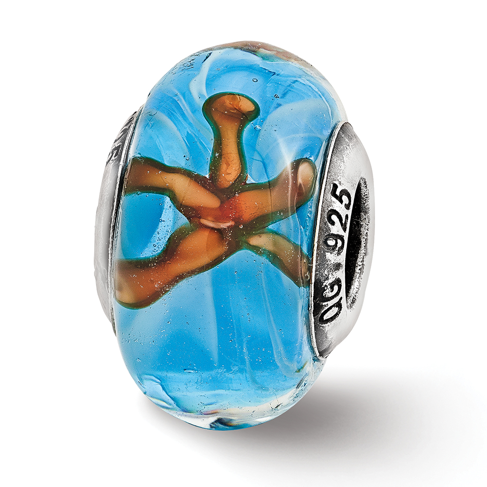 Sterling Silver Reflection Teal Starfish Murano Glass Bead MSRP $117