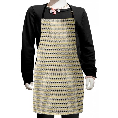 Abstract Kids Apron, Circles Lines in Scribble Drawing Style Pattern, Boys Girls Apron Bib with Adjustable Ties for Cooking Baking Painting, Taupe Multicolor, by Ambesonne