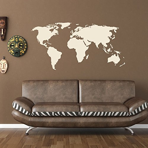 World Map Wall Decal - Educational Wall Decal, Map Sticker, Vinyl Wall Art, Geography Decor - 1092 - White, 24in x 12in