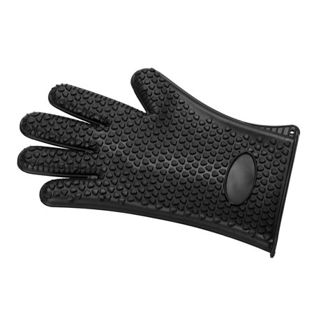 Silicone Cooking Gloves, Grilling Gloves, Heat Resistant Gloves BBQ Kitchen Silicone Oven Mitts, Long Waterproof Non-Slip Potholder for Barbecue, Cooking, Baking (Black) ()
