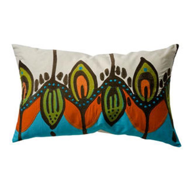 KOKO Company 91912 Coptic 15 in. x 27 in. Pillow - Blue-Orange