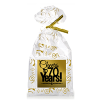 CakeSupplyShop Item#070CTC 70th Birthday / Anniversary Cheers Metallic Gold & Gold Swirl Party Favor Bags with Twist Ties