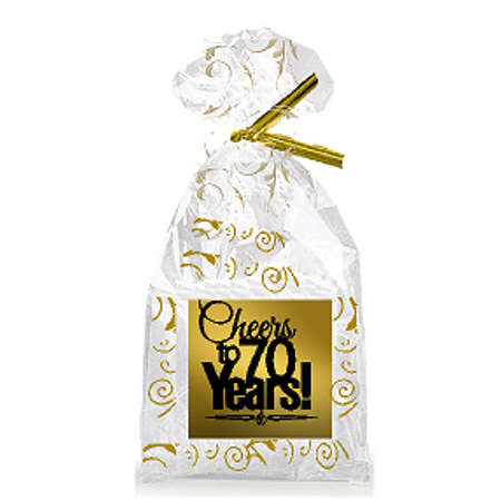 70th Birthday Decor (CakeSupplyShop Item#070CTC 70th Birthday / Anniversary Cheers Metallic Gold & Gold Swirl Party Favor Bags with Twist)