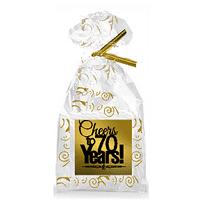 CakeSupplyShop Item#070CTC 70th Birthday / Anniversary Cheers Metallic Gold & Gold Swirl Party Favor Bags with Twist Ties