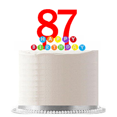 Item#087WCD - Happy 87th Birthday Party Red Cake Topper & Rainbow Candle Stand Elegant Cake Decoration Topper Kit](Rainbow Cake Decorations)