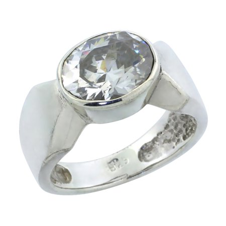 WorldJewels - Sterling Silver Oval Cubic Zirconia Ring
