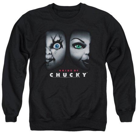 Bride Of Chucky Horror Comedy Movie Happy Couple Adult Crewneck Sweatshirt](Bride Of Chucky Outfit)