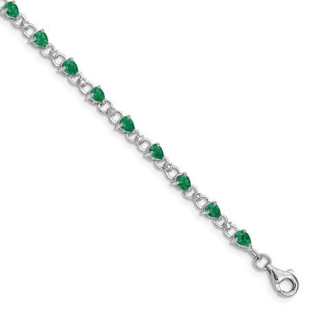 925 Sterling Silver Rhodium-plated Emerald and Diamond Bracelet - image 1 de 2