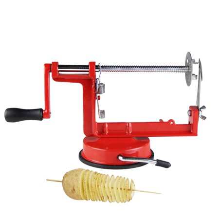 red stainless steel twisted potato apple slicer spiral French fry