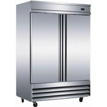 French Door Stainless Steel Freezer (Freezer Double Solid Door Stainless Steel Reach-in Commercial Grade Restaurant, 54 Inch W - 46.5 Cu. Ft. - Auto Defrost - Digital Control - 6 Adjustable Shelves - 5 Year Compressor Warranty )