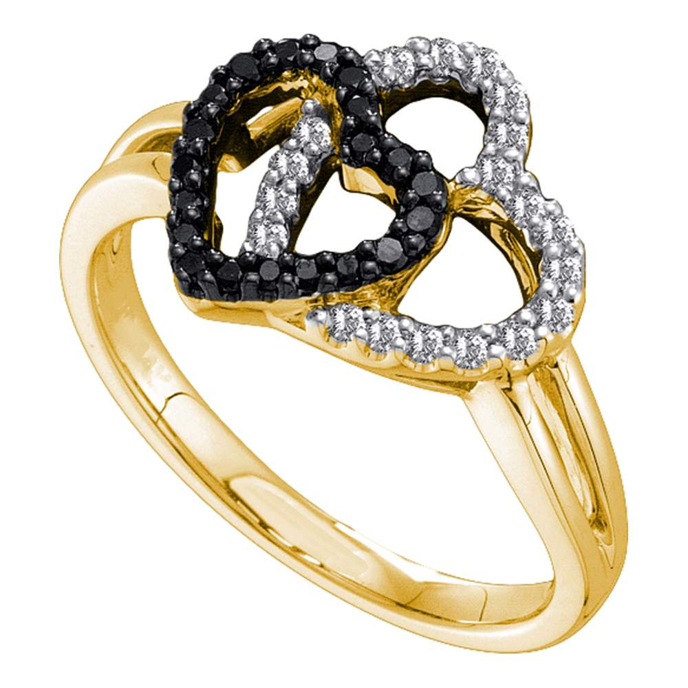 Black Diamond Double Heart Ring Solid 14k Yellow