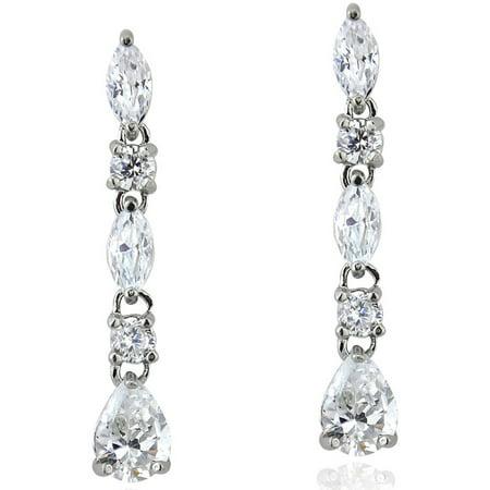 Dangling Earrings (CZ Sterling Silver Marquise-Cut Dangling)