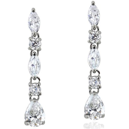 CZ Sterling Silver Marquise-Cut Dangling Earrings