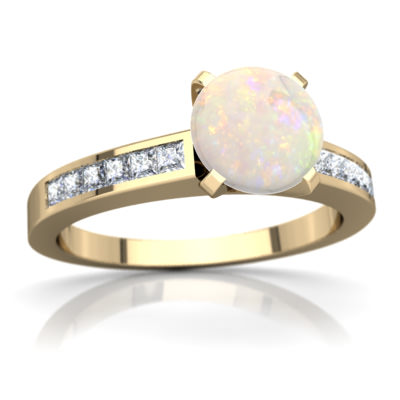 Opal Channel Set Ring in 14K Yellow Gold by