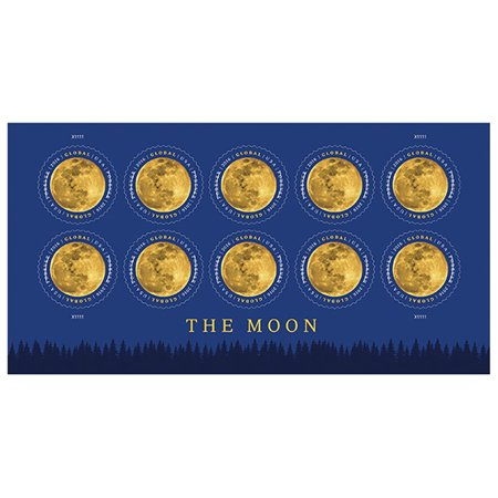 The Moon Global 10 Sheets of 10 Global USPS First Class International Forever Postage Stamps Lunar Satellite (100 Stamps) (Usps First Class International)