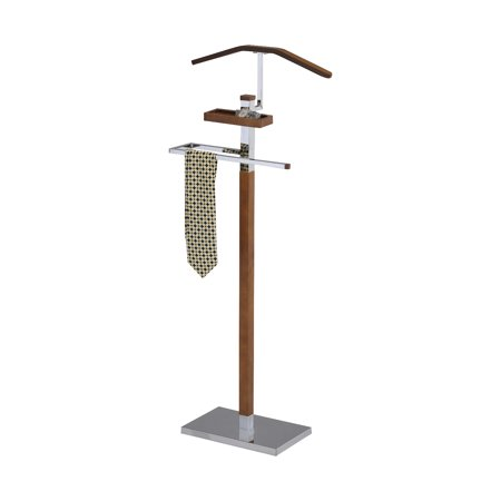 Falcon Chrome Metal & Tobacco Wood Modern Cloth, Coat, Suit & Hat Valet Stand Organizer Rack ()