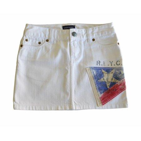Ralph Lauren Girl's Skirt White Jeans - Size 8