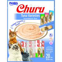 Inaba Churu Grain-Free Cat Treat, Tuna Puree Variety Pack, 20 Tubes