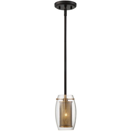Mini Pendants 1 Light With Warm Brass with Bronze Accents Candelabra 5 inch 60W