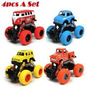 4 Pack Inertia Hot Wheels Trucks Toys Pull Back Cars for 2 3 4 5+ Year Old Boys Baby Girl Kid - Best Boy Gift