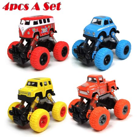 4 Pack Inertia Hot Wheels Trucks Toys Pull Back Cars for 2 3 4 5+ Year Old Boys Baby Girl Kid - Best Boy