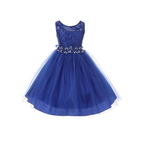 Big Girls Royal Blue Lace Sequin Embroidered Tulle Junior Bridesmaid Dress 8-14