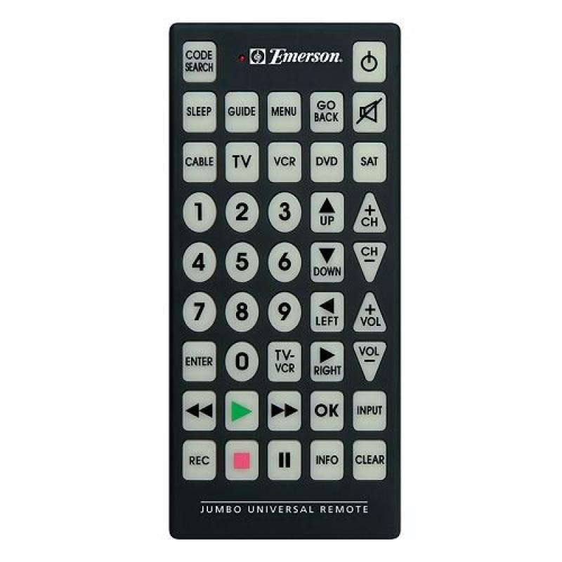 Emerson Jumbo Universal Remote for TV, DVD, Cable, Satell...