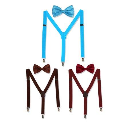 Unisex Bow Tie Set Y Shape Adjustable Elastic Shoulder Strap - Burgundy Suspenders