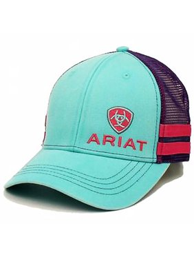 ARIAT WESTERN WOMENS MESH BACK ADJUSTABLE SNAP TURQUOISE BASEBALL CAP