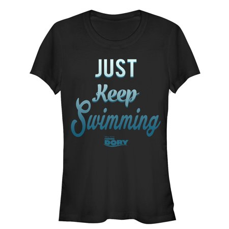Junior's Finding Dory Just Keep Swimming Motto  Graphic Tee Just keep swimming with a fun new Finding Dory shirt! Shop Finding Dory graphic tees featuring Dory, Marlin, Nemo, Hank, Bailey, and all your favorite Finding Dory characters.