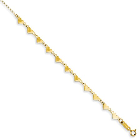 14K Yellow Gold Oval Link Necklace Chain with Hearts with 1in Ext Anklet Bracelet -9