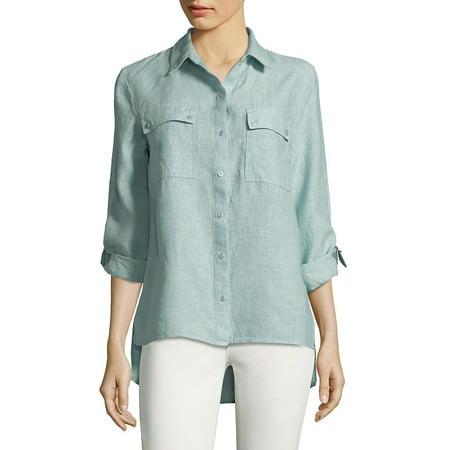 Hi-Lo Linen Button-Down Shirt