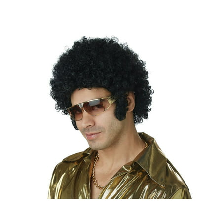 Men's Afro and Chops Black Wig