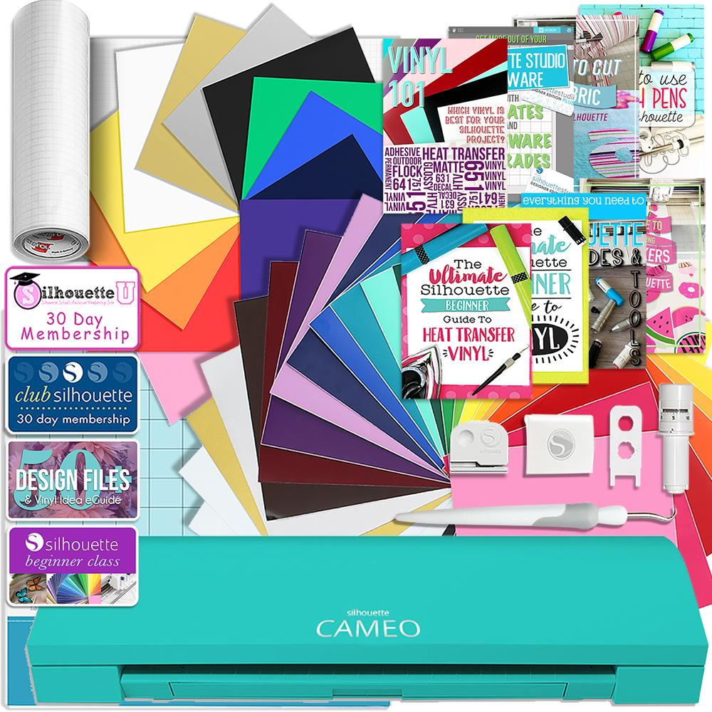 Silhouette Teal Cameo 3 Bluetooth Creative Bundle with 24 Oracal 651 Sheets and 12 Siser Easyweed Heat Transfer Sheets