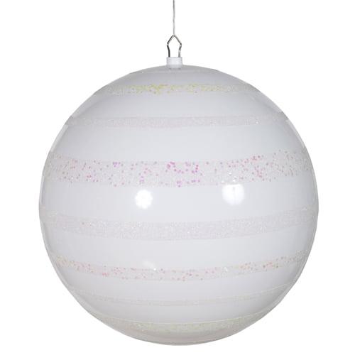 "White Glazed and Sequin Stripes Shatterproof Christmas Ball Ornament 16"" (400mm)"