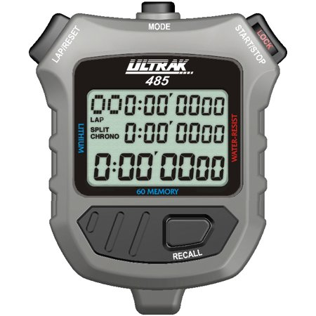 Ultrak 485 - 60 Lap Dual Split Memory Stopwatch Timer with Three Line Display
