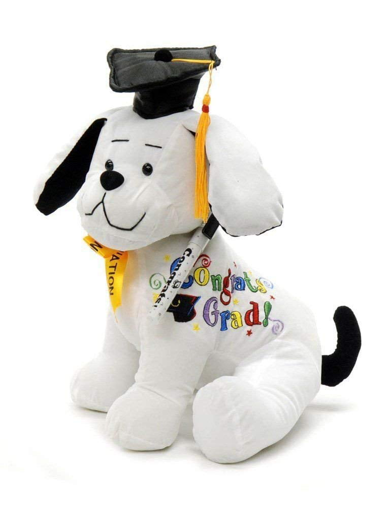 """Graduation Seat Dog Autograph Stuffed w// Pen Blue Cap /""""Congrats Grad!/"""""""