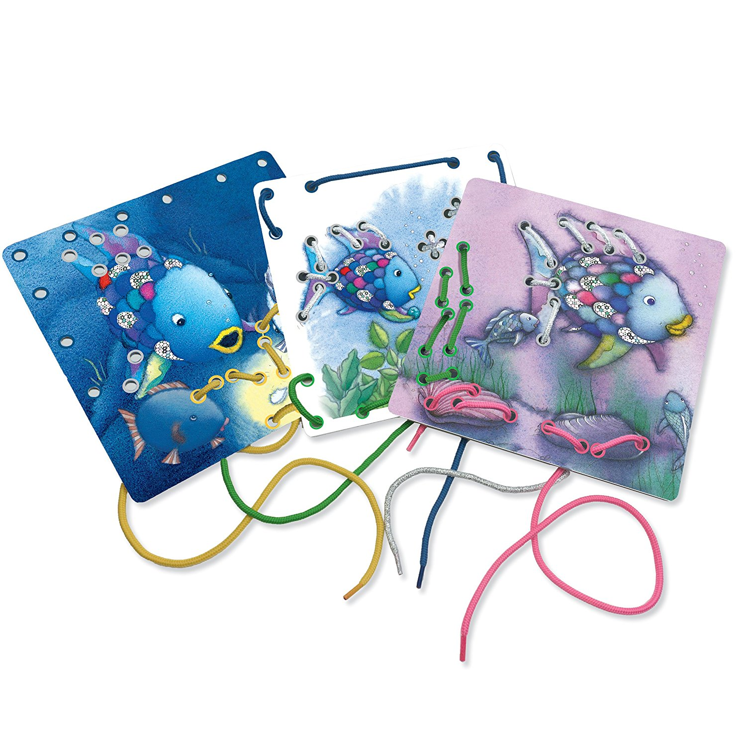 Rainbow Fish Lacing Cards, TOYS THAT TEACH: Children will love developing their fine motor skills, color recognition and manual dexterity with these beautiful.., By MindWare