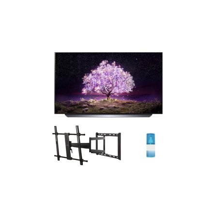 """LG OLED77C1PUB 77"""" 4K Ultra High Definition OLED Smart C1 Series TV with a Walts TV Large/Extra Large Full Motion Mount for 43""""-90"""" Compatible TV's and a Walts HDTV Screen Cleaner Kit (2021)"""