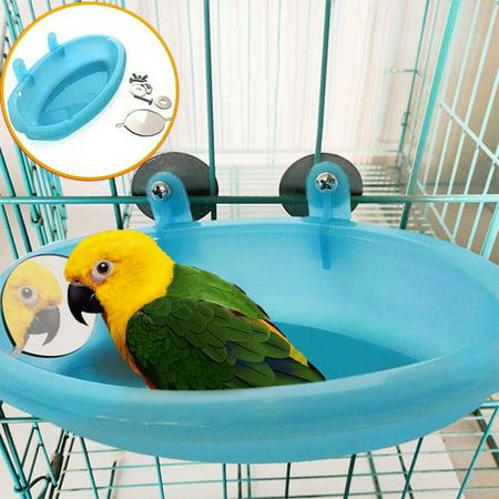 Pet Bath Tub Feeding Box with Mirror for Birds Parrots ()