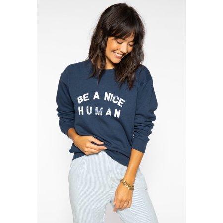 Sub Urban Riot Women's Athleisure Be A Nice Human Willow Sweatshirt Navy Blue Nhl Sweatshirt