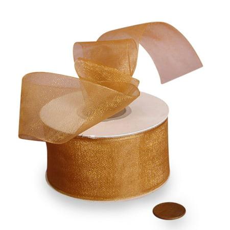 "5/8"" X 25 Yards Old Gold Shimmer Sheer Organza Ribbon  by Paper Mart"