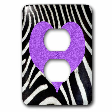 3dRose Punk Rockabilly Zebra Animal Stripe Purple Heart Print - 2 Plug Outlet Cover - Purple Zebra Print