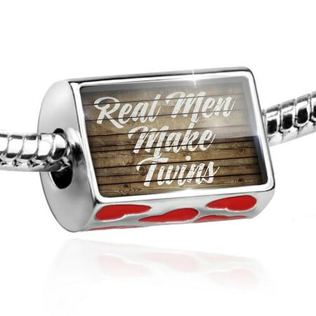 Bead Painted Wood Real Men Make Twins Charm Fits All European Bracelets