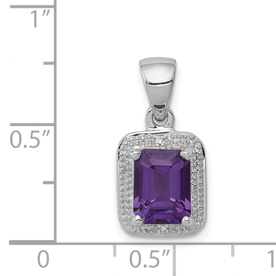 Sterling Silver Amethyst and Diamond Charm Pendant