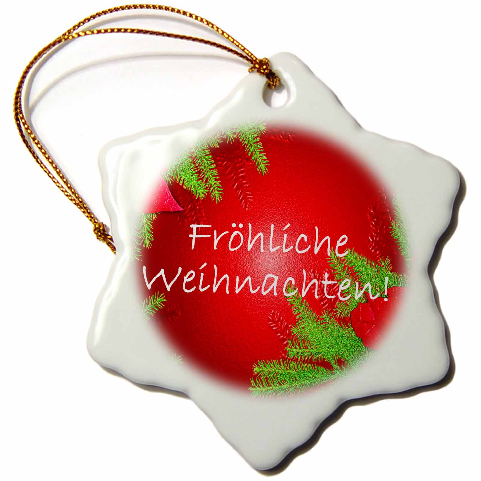 3dRose Christmas Poinsettia Frohliche Weihnachten in Red I, Snowflake Ornament, Porcelain, 3-inch