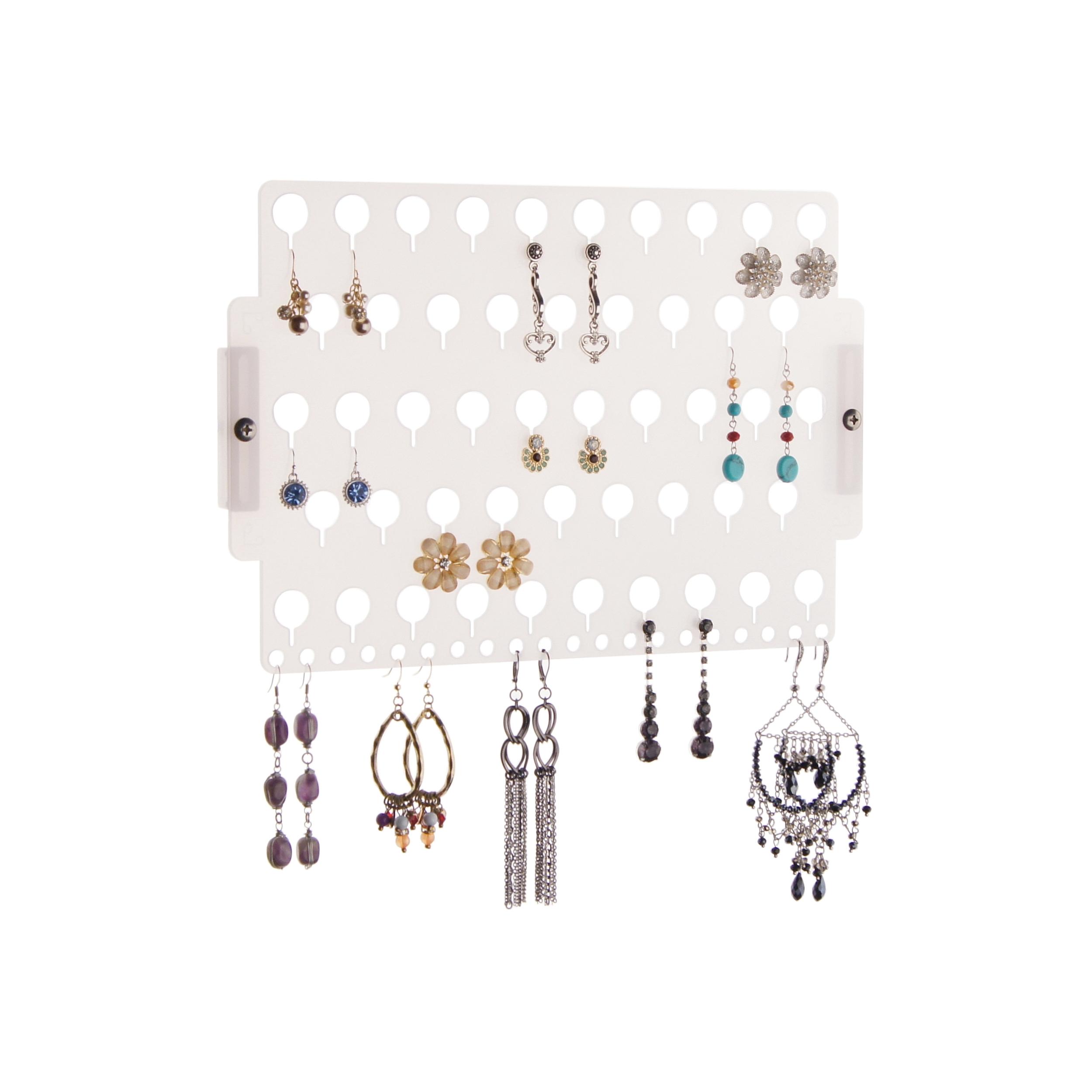 Angelynn S Wall Mount Stud Earring Holder Hanging Jewelry Organizer Rack Closet Storage Earring Angel Frosted Walmart Com Walmart Com