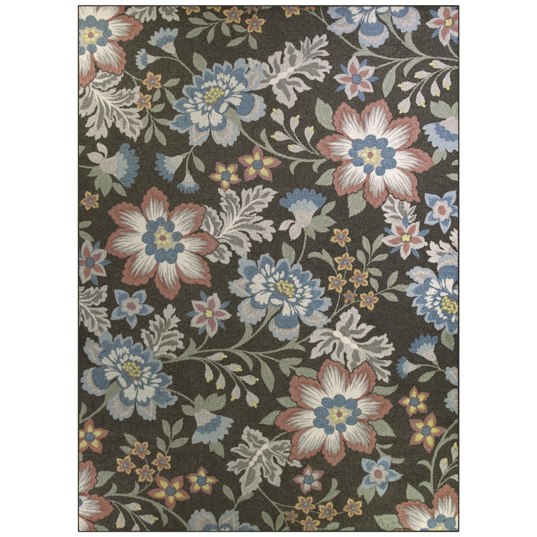 Mainstays Gray Floral Loop Pile Print Area Rug or Runner - Walmart.com